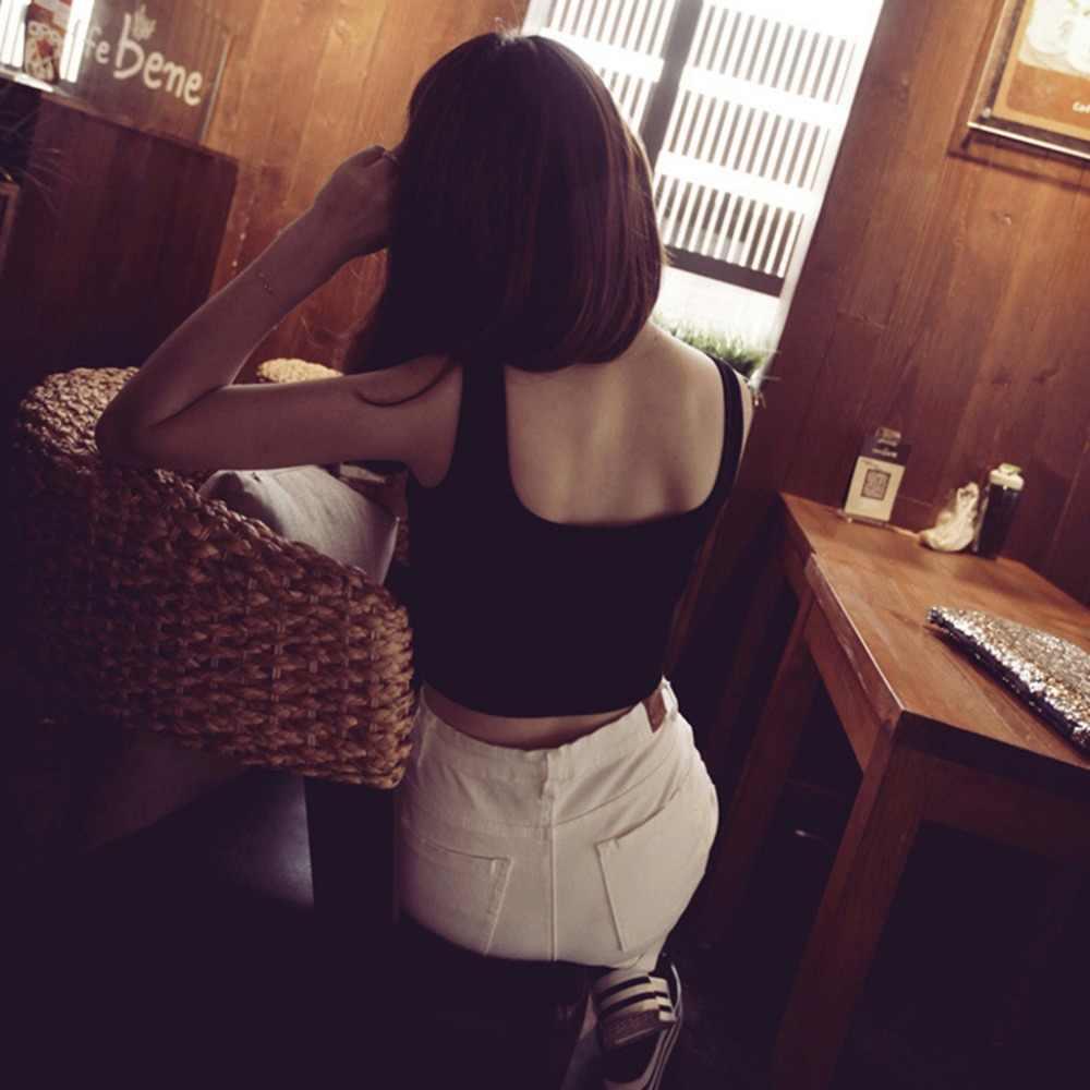 743b5675a0a8a ... Summer Slim Render Short Top Women Sleeveless U Croptops Stretchable  Midriff-baring BacklessTank Tops Drop ...