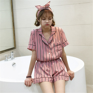 Image 1 - Sleep Lounge Women Pajamas Set with Shorts Cotton Sleepwear Short Sleeve Spring Summer Pyjama Flower Print Pijama Nightsuits