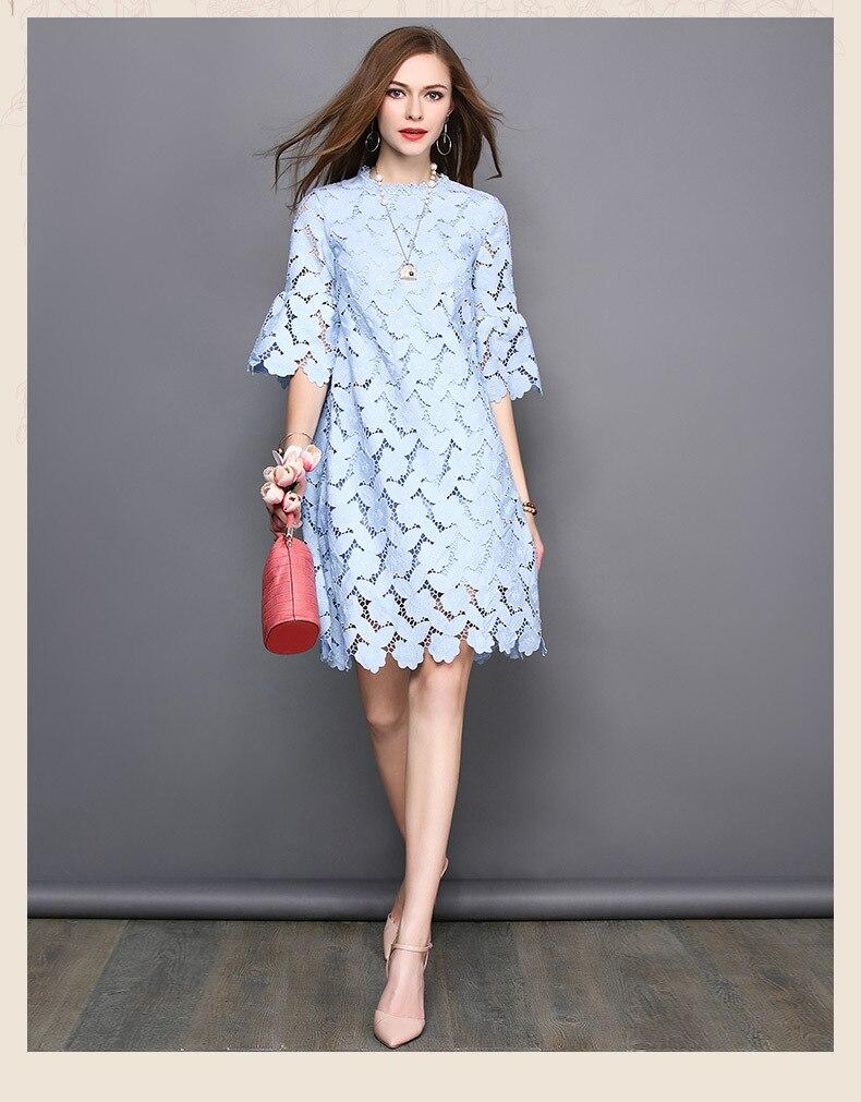 Бесплатная доставка Летняя мода-версия высокого качества одноцветное изделие трехмерные цветы кружевное платье с ногтей сверла для женщин