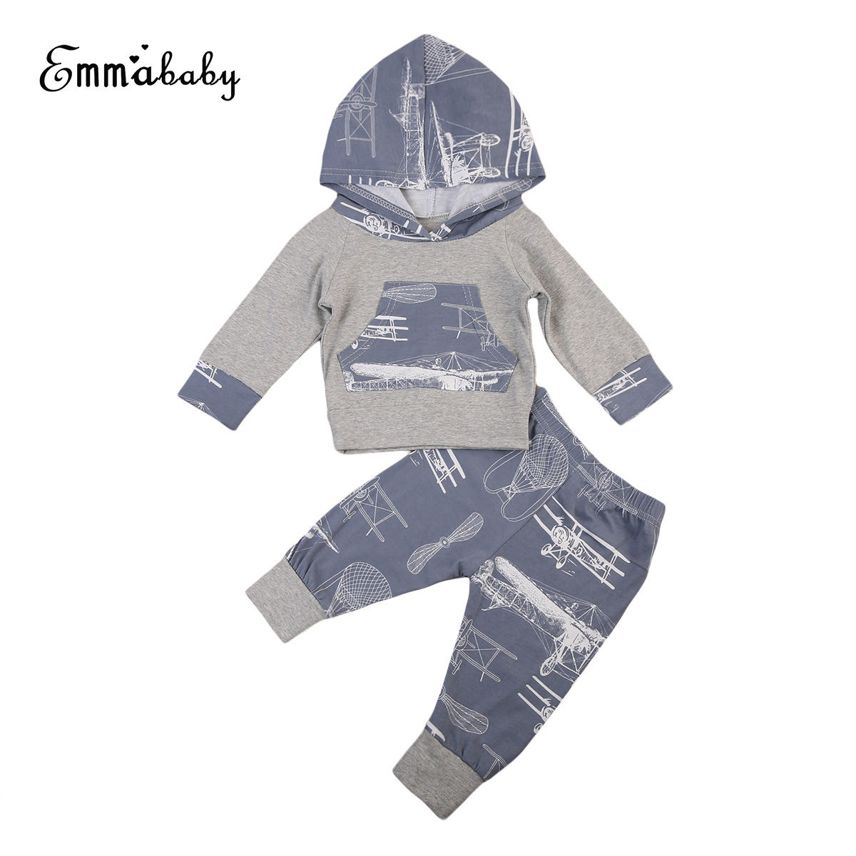 Xmas Halloween Baby Graffiti Printing Hooded Clothing Set Toddler Kids Baby Girls Boys Hoodies Tops Pants Outfits Clothes