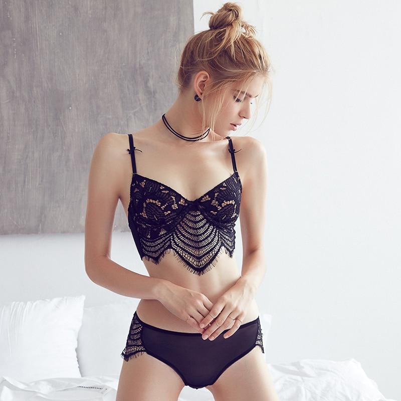 2017 New Sexy Eyelace Five-hook-and-eye Bra Set Transparent Seamless Push up 1/2 cup Soild Women's Underwear Set Big Size Bras