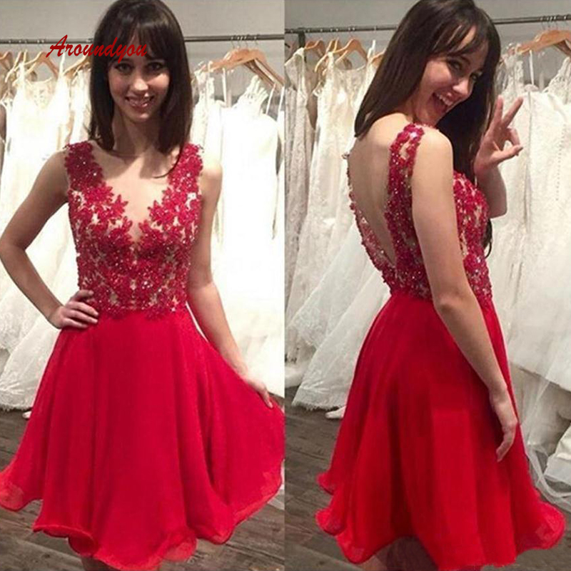 Sexy Red Short Lace   Cocktail     Dresses   Plus Size coktail Semi Formal Graduation Prom Party Homecoming   Dresses