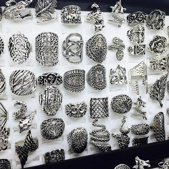 الجملة مجموعة 50 قطعة أنماط مزيج المرأة ريترو مجوهرات خواتم brand new
