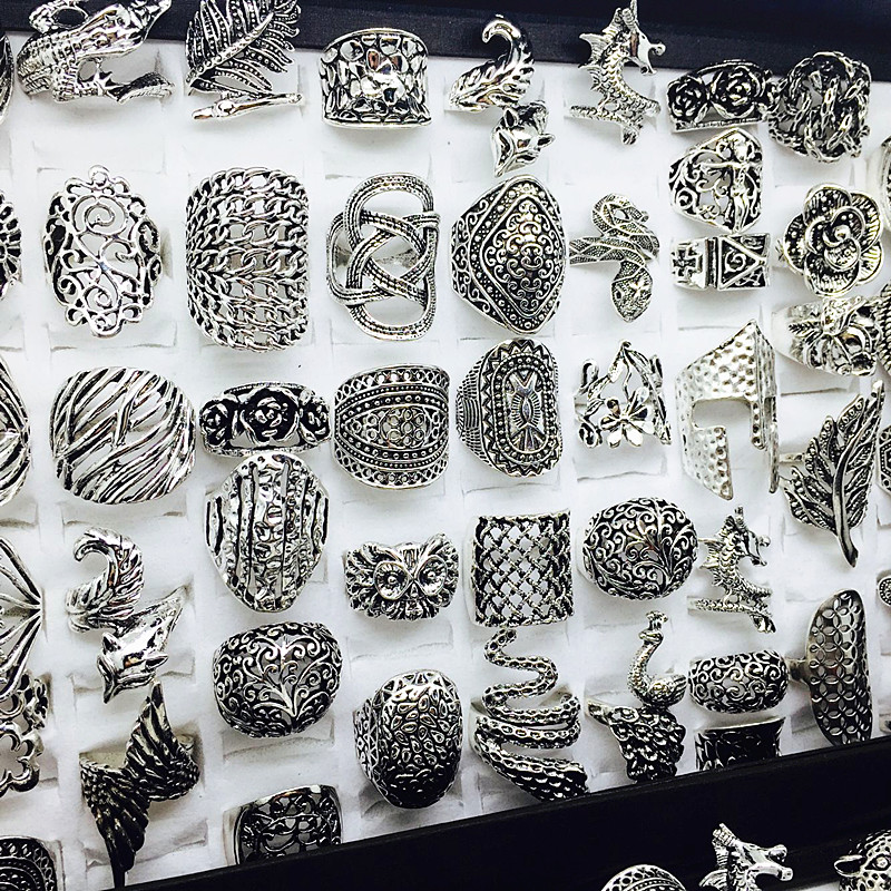 wholesale lot 50pcs mix styles women's retro Jewelry Rings brand new-in Rings from Jewelry & Accessories