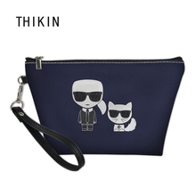 THIKIN Custom Karl Lagerfelds Print Cosmetic Bag for Sex Woman Lady Customize Toilette Bag Makeup Bag Bolsos Mujer 2019 недорого