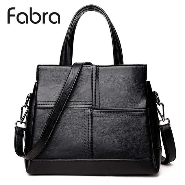 Fabra Women Handbag PU Leather Messenger Bags Women Crossbody Shoulder Bag  Black Ladies Quality Small Handbags 29x16x23 cm d367caaaf0d11