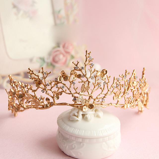 Folha de ouro barroco coroa tairas libélula acessórios para o cabelo de noiva Princesa coroas Nupciais mulheres cocar enfeites de presente