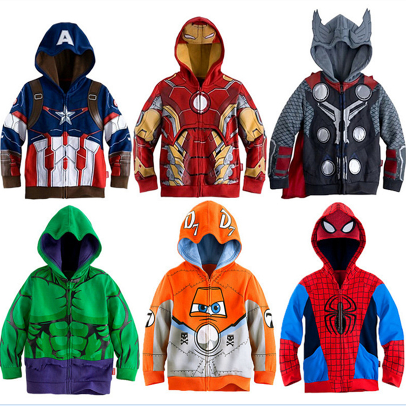 Boys Hoodies Avengers Marvel Superhero Iron Man Thor Hulk Captain America Spiderman Sweatshirt for Boys Kid Cartoon Jacket 2-8T(China)