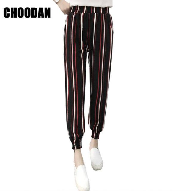 a5f544fd83627 Femmes Pantalon Élastique Taille Haute Rayé Impression Cheville-longueur  Dames Pantalon 2018 Nouvelle Mode Large