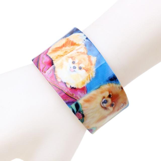 Colorful Dog Patterned Acrylic Bracelet