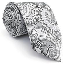 SZ7 Paisley Grey Black Mens Slim Necktie Silk 6cm Tie