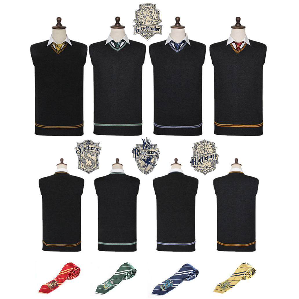 Harri Potter Sweater Gryffindor V-Neck Slytherin Sweater Embroidery Tie Waistcoat Black all-match Daily Clothes Cosplay Costumes(China)