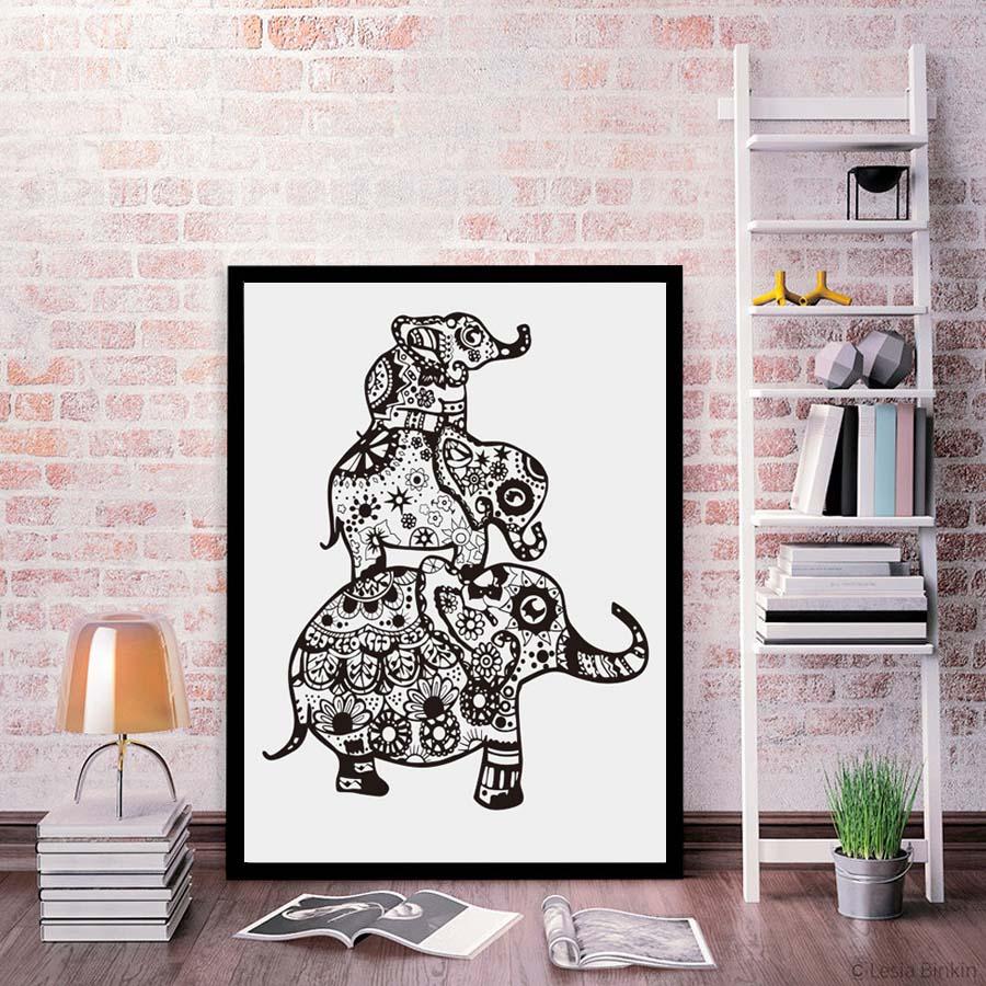 Elefante mandalas patrón impresión arte cartel Wall imágenes para la ...