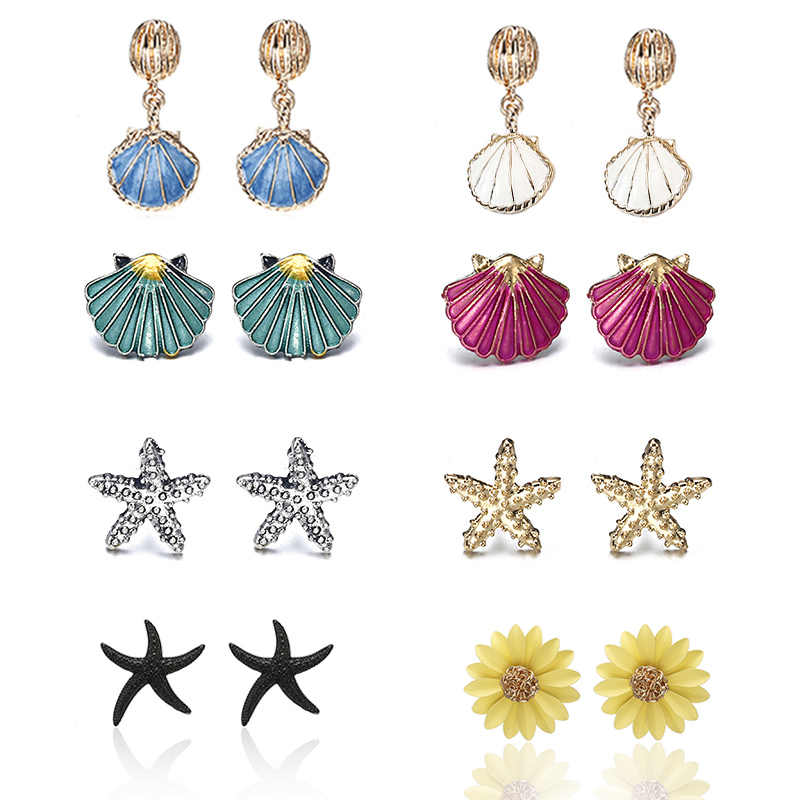 Free Shipping Sea Shell Starfish Earrings For Women Trendy Summer Vocation Sea Beach Stud Earring Cute Female Jewelry 2019 New
