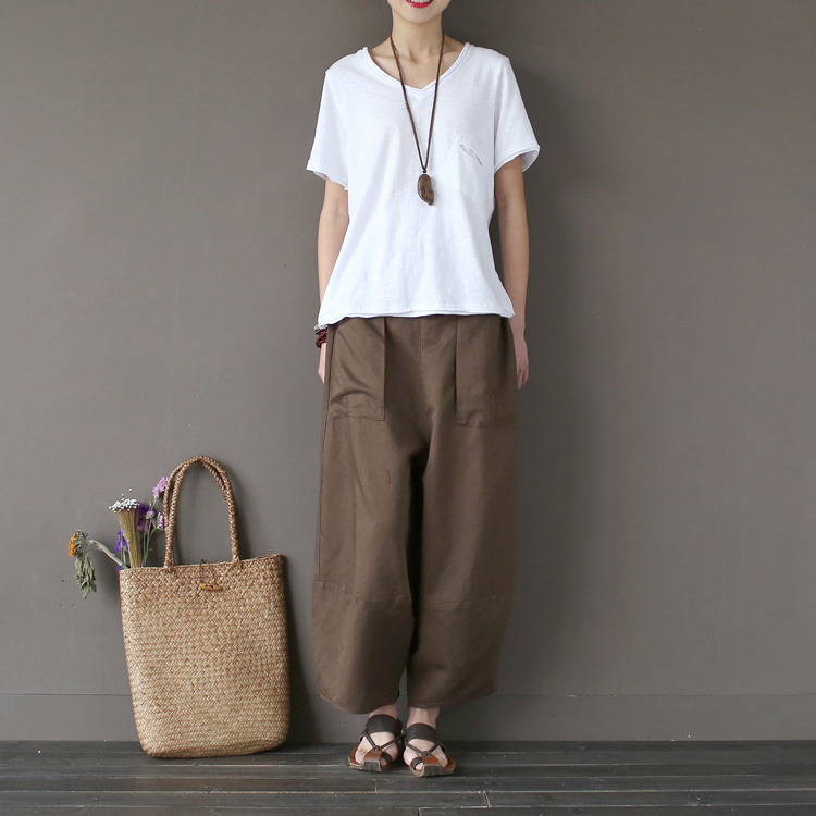 Cotton Wide Leg Ankle-Length Pants