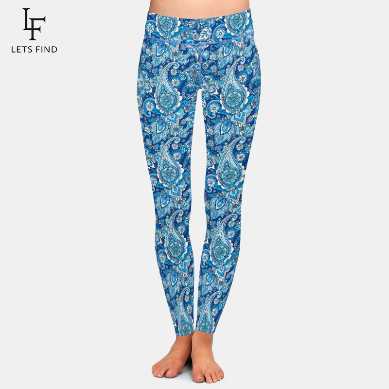 LETSFIND New 3D Paisley Print High Waist Plus Size   Leggings   Fashion Polyester Soft Slim Fitness Ankle-Length Women   Leggings