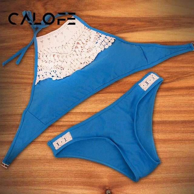 CALOFE Female Lace Sexy Thong Micro Bikini Set Swimwear Women Bathing Suit Swimming Bikini Push Up Swimsuit Woman Swim Suits