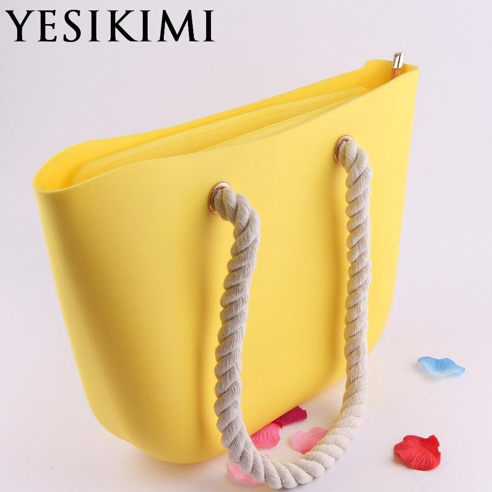 2017 nouveau bonbon couleur femmes Silicone seau sac voyage fourre-tout plage sacs à main gel de silice corde poignée Zipper Design italien