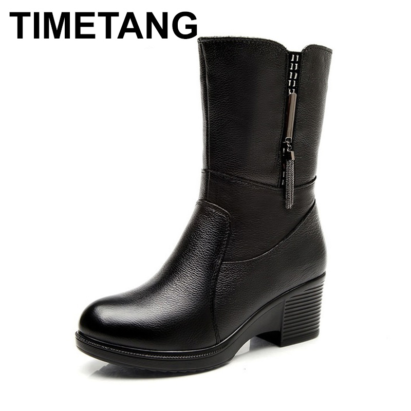 TIMETANG Genuine Leather Wedge High Heel Women Snow Boots Mid Calf Winter Plush Warm Boots Women Waterproof Boots Shoes 2017 black women boots sheepskin winter warm plush female boots mid calf genuine leather women shoes