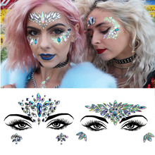 New Fashion Women DIy Face Jewels Rhinestones Beauty  Glitter Tattoo Nightclub Electric Syllable Party Performance Body Jewelry electric festival body art jewels paste diy chest drill acrylic drilling performance make up bar nightclub music party