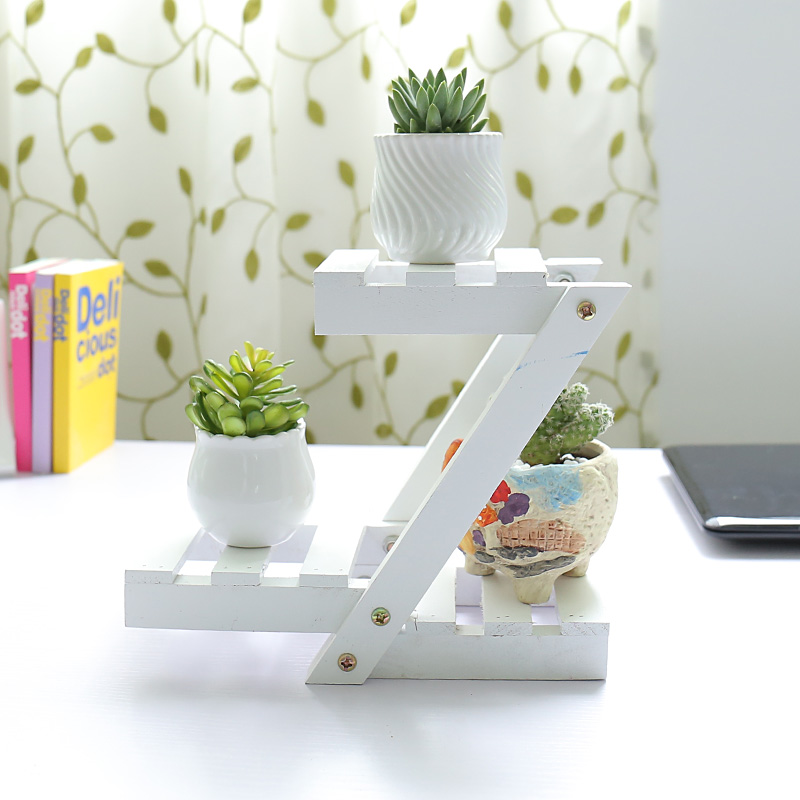 Buy Solid Wood Flower Shelf Desktop Storage Rack Modern Minimalist Mini Three