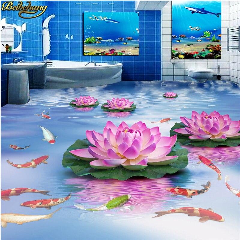 beibehang Custom Photo Wallpaper Floor Paintings Unique Lotus Water Purple Washroom Bathroom Bedroom 3D Floor customized home personalized seamless integration of the abstract paintings lotus wallpaper 1x3m