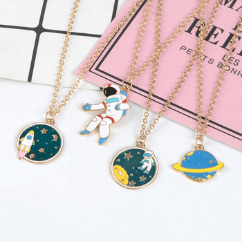 2019 Cartoon Astronaut Rocket Planet Necklace Childlike Space Travel Pendant Keychain Universe Keyring Jewelry gifts for Kids image