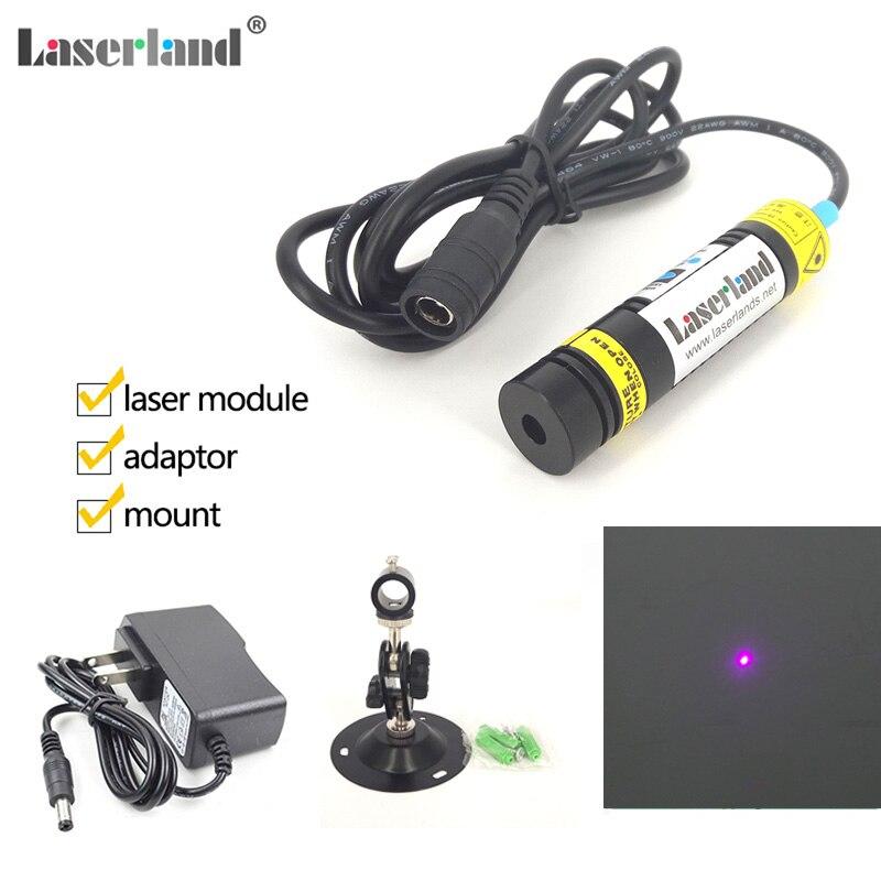 16x68mm Violet Pourpre Bleu 405nm 200 mW Point Dot Diode Laser Module w Adaptateur et Montage