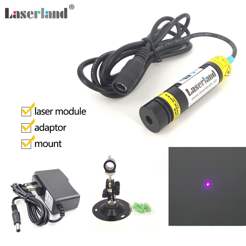 16x68mm Violet Purple Blue 405nm 200mW Point Dot Diode Laser Module w Adapter and Mount