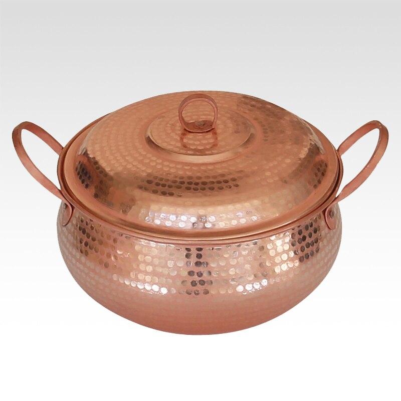 H 1 pièces pur cuivre Pot ragoût vapeur soupe violet profond cocotte vapeur fait à la main avec 2 oreilles haute qualité 18 cm/22 cm/24 cm/26 cm/30 cm