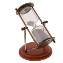 Rubber Wood+Alloy 15/30 Minutes Rotating Hourglass Metal Frame Sandglass Sand Timer Home Ornament Decoration Office Sand Clock wall mounted rotating sauna wooden hourglass white sand timer 15 minutes