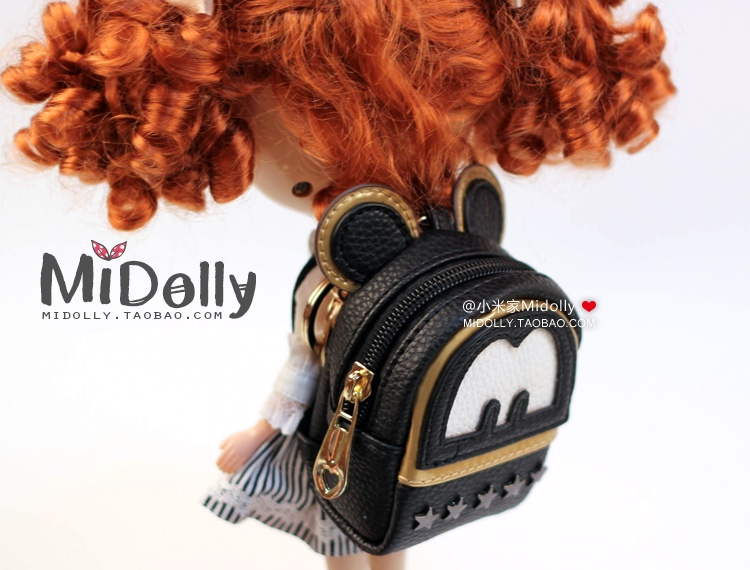 Free Shipping new doll Backpack big ears Star rivet bags for blythe bjd accessories pullip tanggo