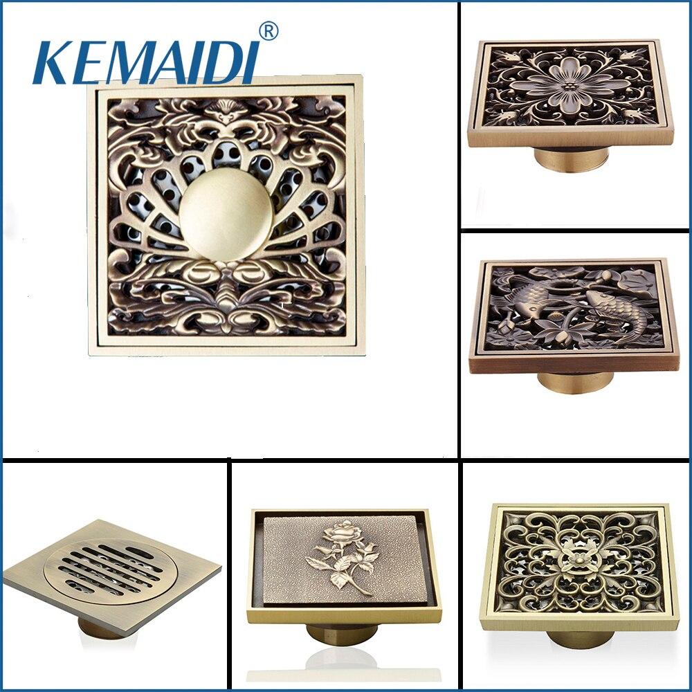 KEMAIDI Antique Brass Household Art Carved Flower Floor Drain Bathroom Shower Square Drain Strainer Wholesale & Retail все цены