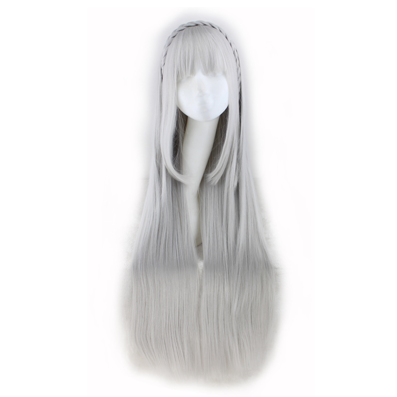 QQXCAIW Long Straight Cosplay Sliver Gray  100 Cm Synthetic Hair Wigs