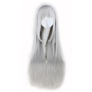 Image 1 - QQXCAIW Long Straight Cosplay Sliver Gray  100 Cm Synthetic Hair Wigs