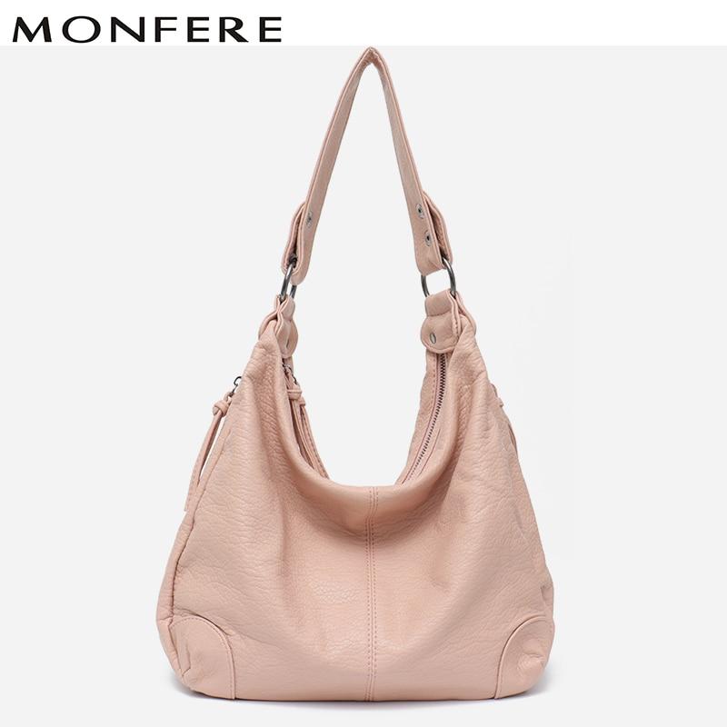 MONFERE New Arrivals 2018 Women Handbag Washed Vegan Leather Shoulder Messenger Bag
