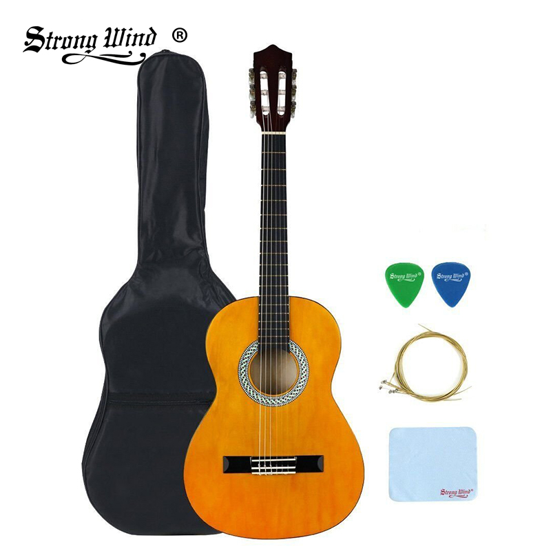 Strong Wind 3/4 Size 36 Inch Classical Acoustic Guitar 6 Nylon Strings Basswood Guitarra For Beginner Kids Unisex Semi-closed strong wind 3 4 size classical acoustic guitar 36 inch acoustic guitarra for begin guitar yellow with bag tuner strings picks
