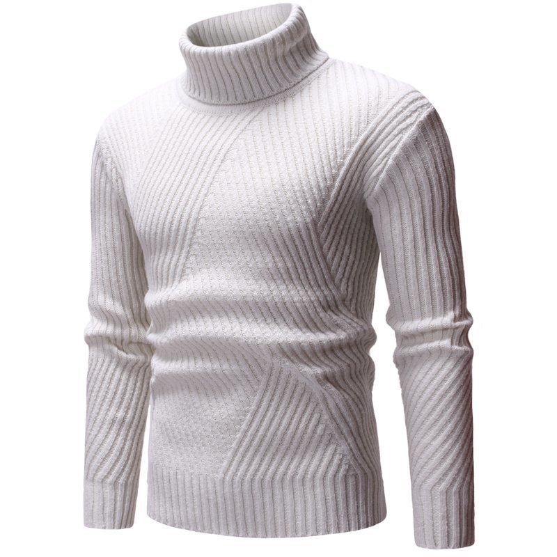 Winter Men's Cashmere Knitting In Warm Mens Woolen Sweaters Casual Pullover Brand Sleeve Single Man Knit Turtleneck Size M-2XL