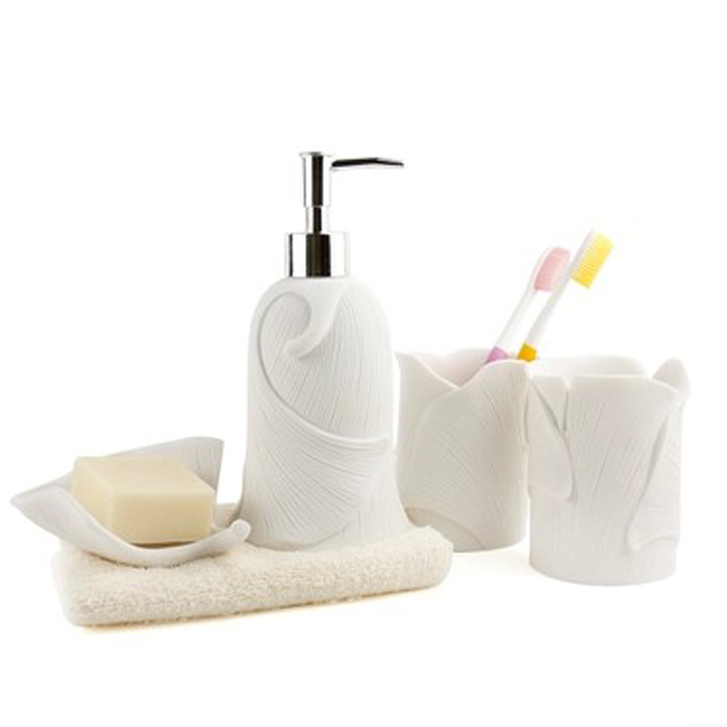 sandstone personality bathroom set 4 pieces unique ceramic bath set bath accessories green and white color