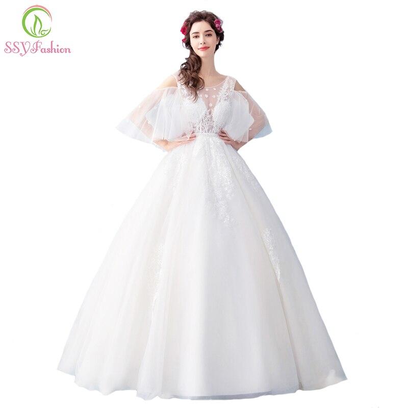 e9515a7160 Ssyfashion nuevo La novia casó el vestido de boda blanco dulce Encaje  Bordado a-line