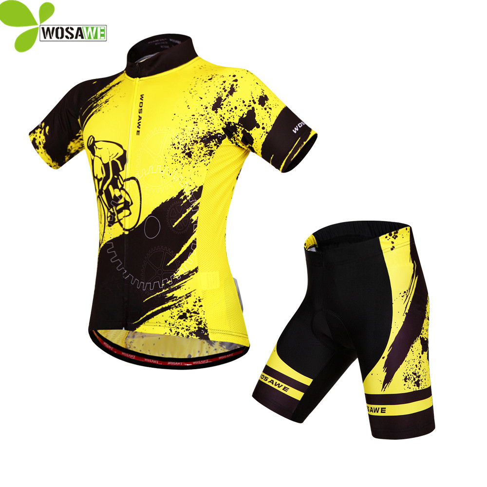 WOSAWE gel pad Mens Short Sleeves Cycling Jersey set Bike Bicycle suit Shirts sports Wear MTB bike clothes cycling Clothing