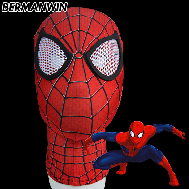 BERMANWIN High Quality Amazing Spiderman Mask With Lens Spandex Red Spiderman Face Mask