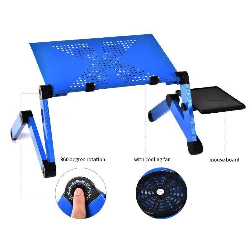 De aleación de aluminio de mesa portátil ajustable portátil plegable de escritorio de la computadora de los estudiantes dormitorio mesa para portátil soporte bandeja para sofá cama