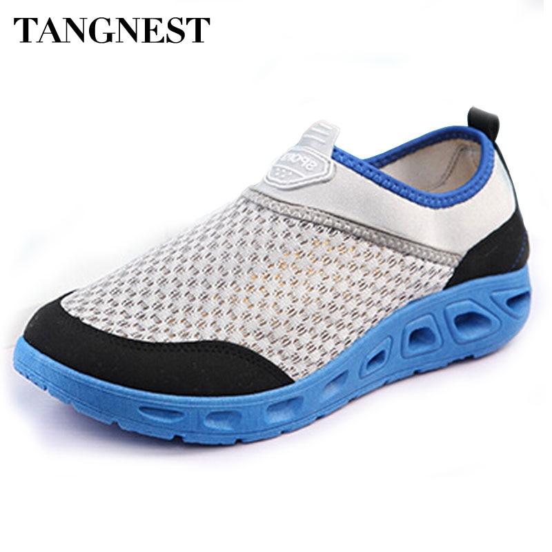 b40c4a951 Tangnest شبكة الأحذية 2017 الصيف أحذية تسمح بدخول الهواء مختلط اللون  الانزلاق على منصة الشقق خارج الشقق الرجال حذاء كاجوال XMR1943