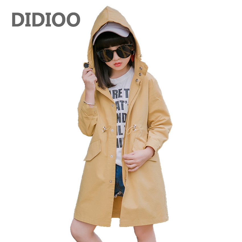 Big Girls Outerwear Long Hooded Jackets For Girls Trench Coats Cotton Teenage Kids Windbreakers Children Tops 6 8 10 12 14 Years girls trench coats double breasted long jackets for girls clothing children outerwear spring autumn kids windbreakers 5 7 12 15