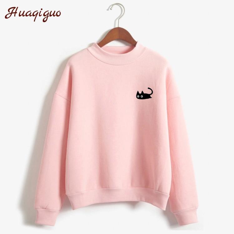 Kpop Autumn Casual Harajuku Kawaii Black Cat Sweatshirts Women Long Sleeve Turtleneck Tops Pullover Funny Cartoon Print Hoodies