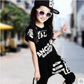 Hip-Hop Style 2017 Summer Girls Fashion Short-Sleeve Dancing Clothing Set Kid Tees Harem Pant Twinset Children Sport Clothes G19