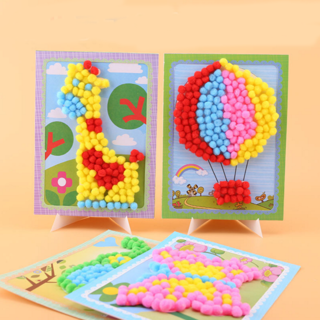 DIY Plush Ball Stickers for Handmade Cards