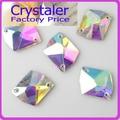 Super Brilhante ~! 16x21mm Forma Cosmic Crystal Clear AB sew na pedra 2holes botões de vidro de cristal base de Prata.