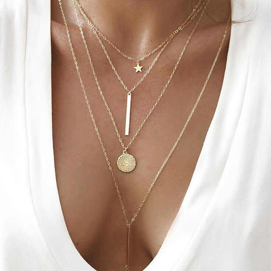 RAVIMOUR Boho Choker Necklaces Women Gold Star Round Coin Pendant Necklace Chain Bohemian Sexy Jewelry Vintage Collar Wholesale